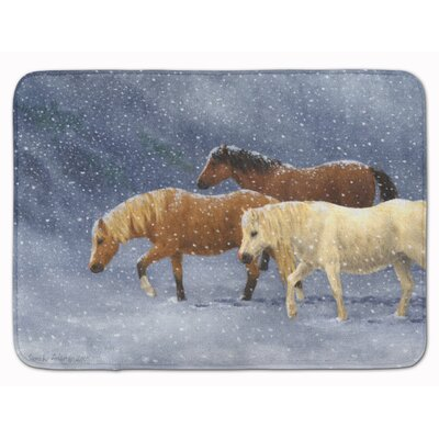 Horse Seeking Shelter Memory Foam Bath Rug