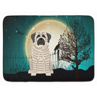 Halloween Scary Mastiff Brindle Memory Foam Bath Rug Color: White