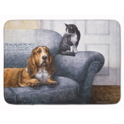 Basset Hound and Cat on couch Memory Foam Bath Rug