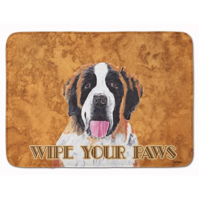 Saint Bernard Wipe your Paws Memory Foam Bath Rug