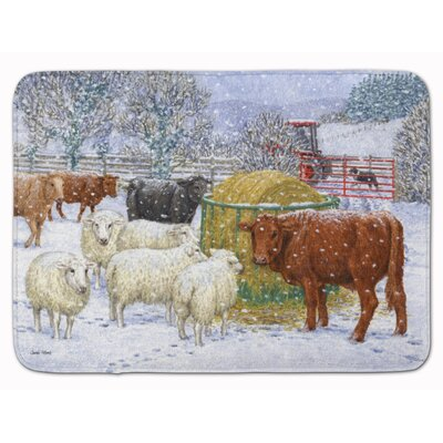 Cows and Sheep in the Snow Memory Foam Bath Rug