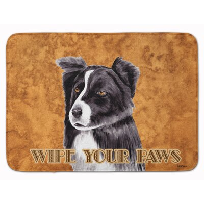 Border Collie Wipe your Paws Memory Foam Bath Rug
