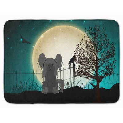 Halloween Scary Chinese Crested Memory Foam Bath Rug Color: Black