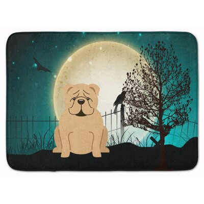 Halloween Scary English Bulldog Memory Foam Bath Rug Color: Red