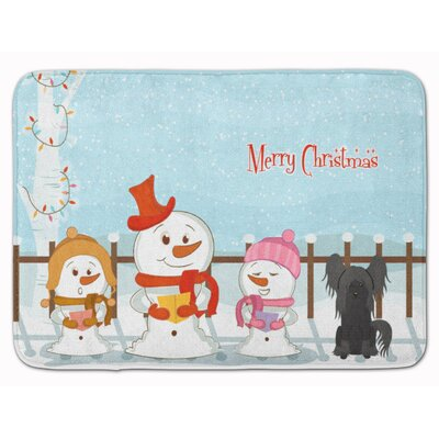 Merry Christmas Chinese Crested Black Memory Foam Bath Rug Color: Black