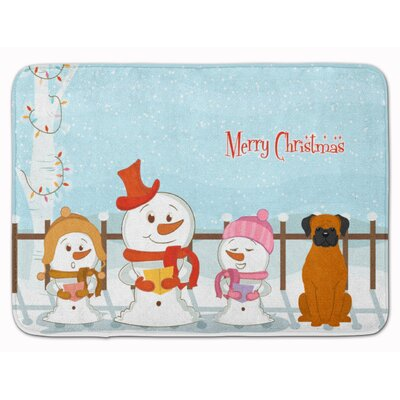 Merry Christmas Carolers Fawn Boxer Memory Foam Bath Rug