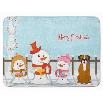 Merry Christmas Flashy Fawn Boxer Memory Foam Bath Rug