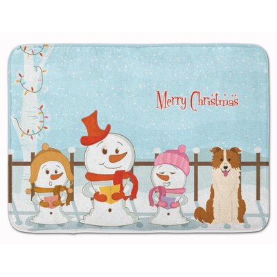 Merry Christmas Border Collie Memory Foam Bath Rug