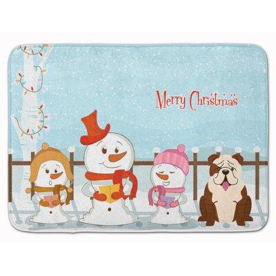 Christmas English Bulldog Brindle Memory Foam Bath Rug