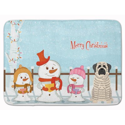 Merry Christmas Mastiff Brindle Memory Foam Bath Rug Color: White