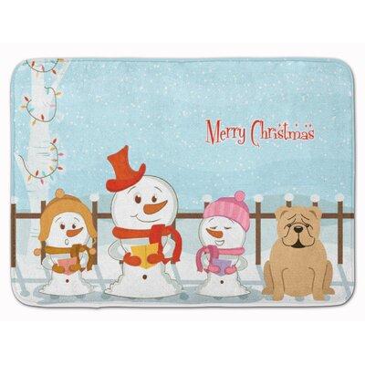 Merry Christmas English Bulldog Memory Foam Bath Rug Color: Fawn