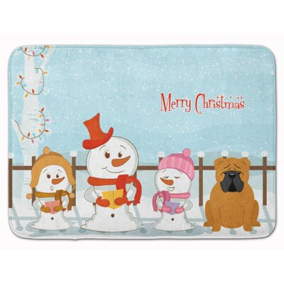 Merry Christmas English Bulldog Memory Foam Bath Rug Color: Red