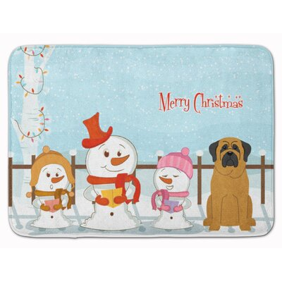 Merry Christmas Carolers Mastiff Memory Foam Bath Rug Color: Chocolate/Brown
