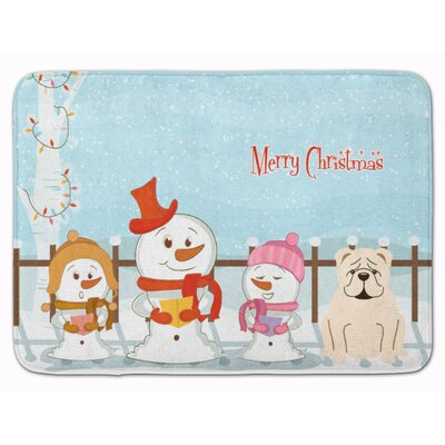 Merry Christmas English Bulldog Memory Foam Bath Rug Color: White