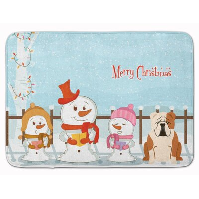 Christmas English Bulldog Fawn Memory Foam Bath Rug