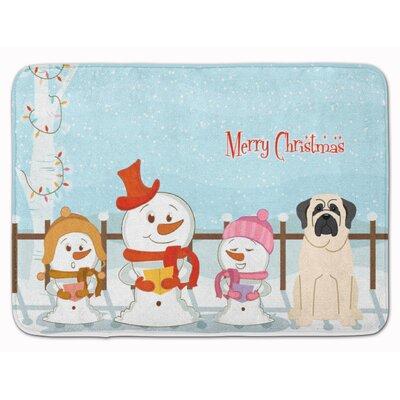 Merry Christmas Carolers Mastiff Memory Foam Bath Rug Color: White