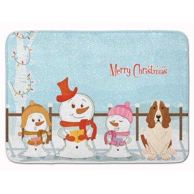 Merry Christmas Carolers Basset Hound Memory Foam Bath Rug