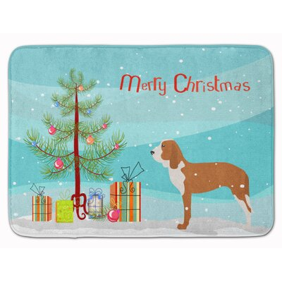 Spanish Hound Merry Christmas Tree Memory Foam Bath Rug