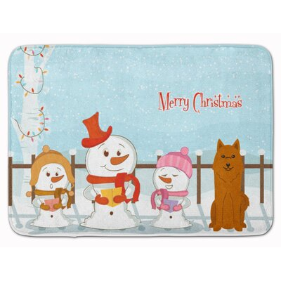 Merry Christmas Karelian Bear Dog Memory Foam Bath Rug