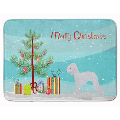 Bedlington Terrier Merry Christmas Tree Memory Foam Bath Rug