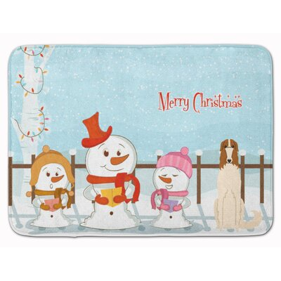 Merry Christmas Carolers Borzoi Memory Foam Bath Rug