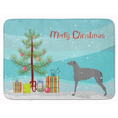 Scottish Deerhound Merry Christmas Tree Memory Foam Bath Rug