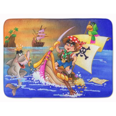 Boy Playing Pirate with Dolphin Memory Foam Bath Rug