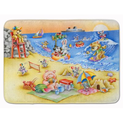 Animals Swimming at the Beach Memory Foam Bath Rug