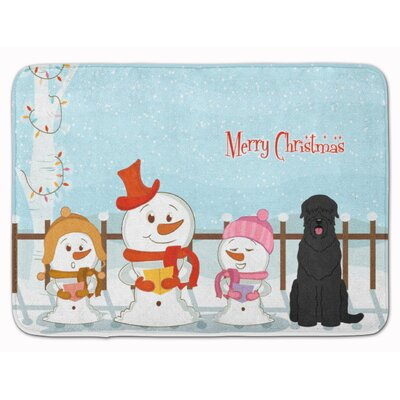 Merry Christmas Russian Terrier Memory Foam Bath Rug