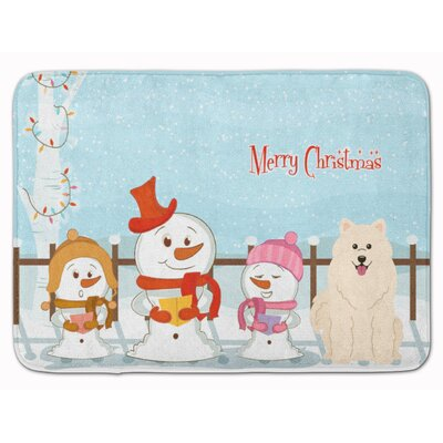 Merry Christmas Carolers Samoyed Memory Foam Bath Rug