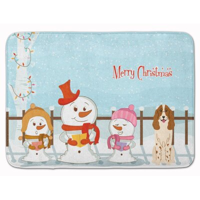Merry Christmas Russian Spaniel Memory Foam Bath Rug