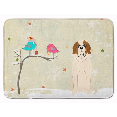 Christmas Presents Friend Saint Bernard Memory Foam Bath Rug