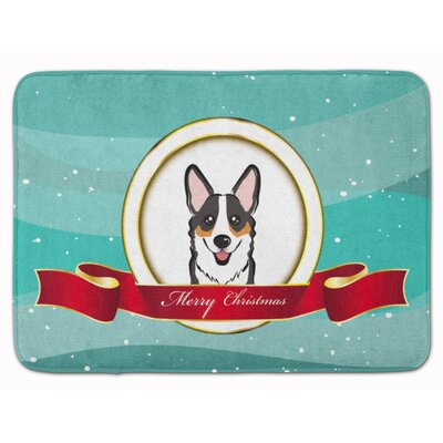 Sable Corgi Merry Christmas Memory Foam Bath Rug Color: Gray