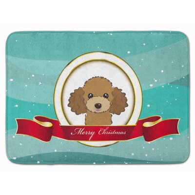 Poodle Merry Christmas Memory Foam Bath Rug Color: Brown