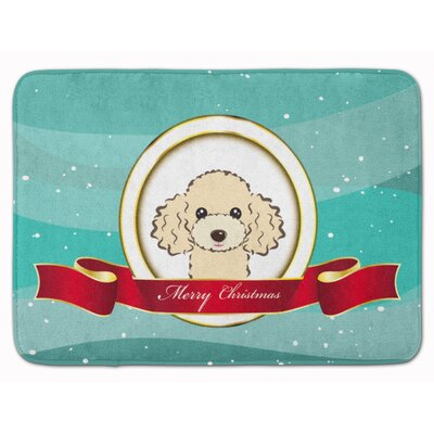Poodle Merry Christmas Memory Foam Bath Rug Color: Cream