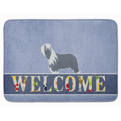 Bearded Collie Welcome Memory Foam Bath Rug