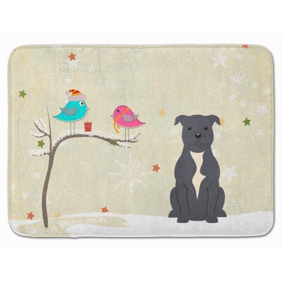 Christmas Bull Terrier Memory Foam Bath Rug Color: Blue