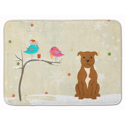 Christmas Bull Terrier Memory Foam Bath Rug Color: Brown