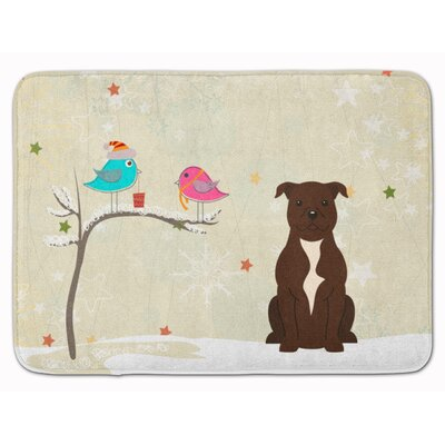 Christmas Bull Terrier Memory Foam Bath Rug Color: Chocolate