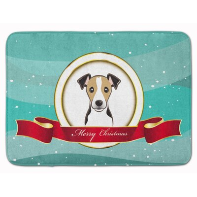 Jack Russell Terrier Merry Christmas Memory Foam Bath Rug Color: Dark Brown