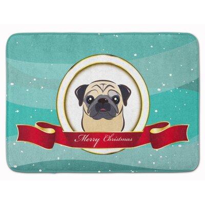 Pug Fawn Merry Christmas Memory Foam Bath Rug Color: Beige