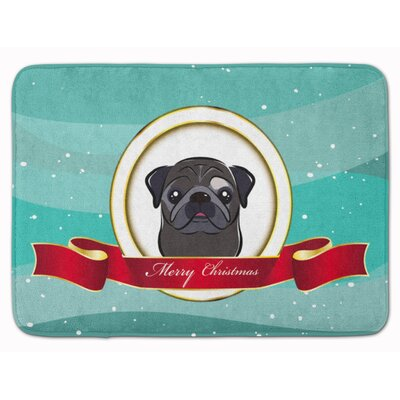 Pug Fawn Merry Christmas Memory Foam Bath Rug Color: Black