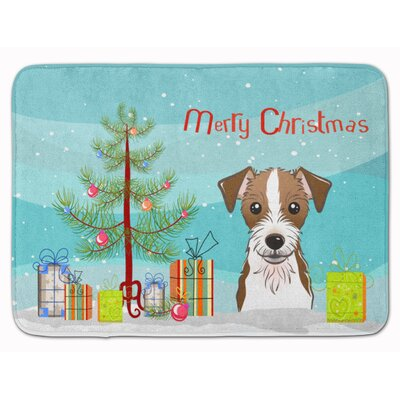 Christmas Tree and Jack Russell Terrier Memory Foam Bath Rug