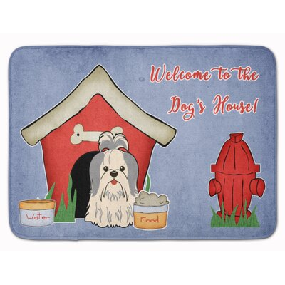 Dog House Shih Tzu Memory Foam Bath Rug Color: White