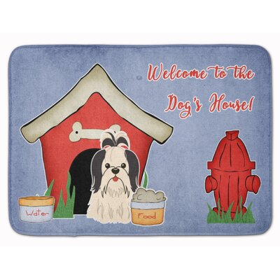 Dog House Shih Tzu Memory Foam Bath Rug Color: Black/White
