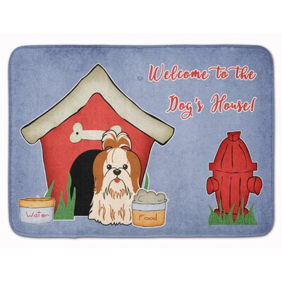 Dog House Shih Tzu Memory Foam Bath Rug Color: Red/White