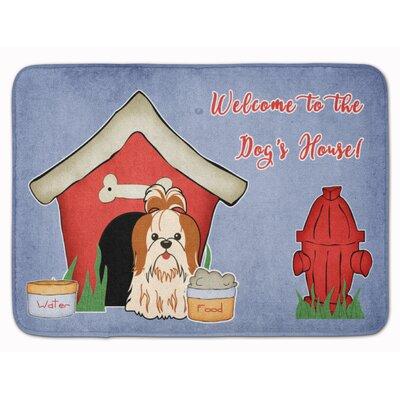 Dog House Shih Tzu Memory Foam Bath Rug Color: Red/White