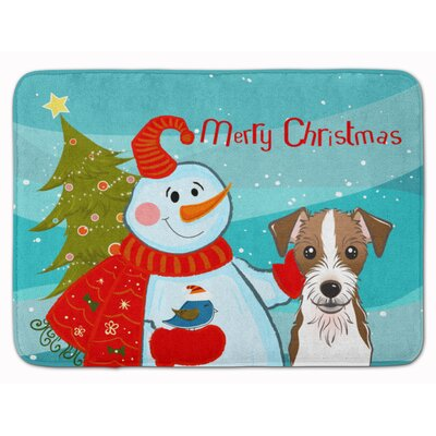 Snowman with Jack Russell Terrier Memory Foam Bath Rug