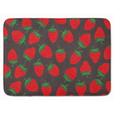 Strawberries Memory Foam Bath Rug Color: Gray