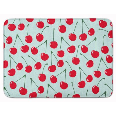 Cherries Memory Foam Bath Rug Color: Blue